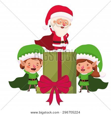 Couple Of Elves And Santa Claus With Gift Box Vector Illustration Desin