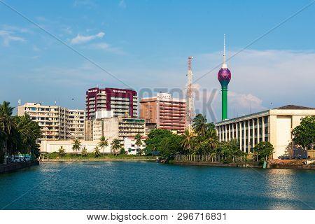 Colombo, Sri Lanka - April 5, 2019: Colombo Skyline Over Beira Lake With Modern Business And Residen