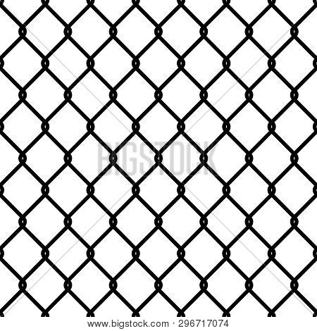 Fence Link Pattern. Seamless Steel Chain Cage Texture Black Mesh Wallpaper Security Wall Perimeter I