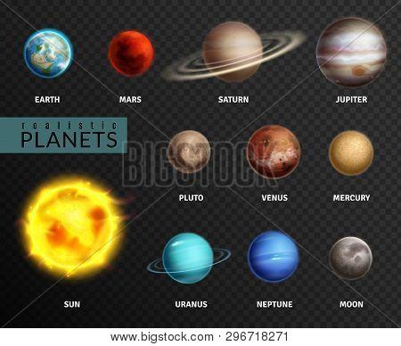 Realistic Planets. Solar System Planet Space Universe Galaxy Sun Moon Saturn Mercury Jupiter Venus C