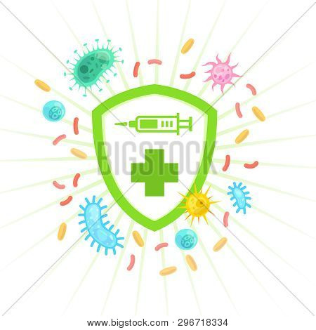 Vaccinating Concept. Medical Immunology Immune System Protection Shield Defense Virus Bacteria, Immu