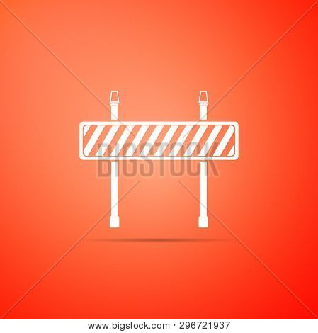 Road Barrier Icon Isolated On Orange Background. Symbol Of Restricted Area Which Are In Under Constr