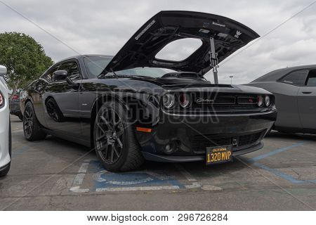 American Muscle Car Dodge Challenger Exhibited At Torqued Tour Event.
