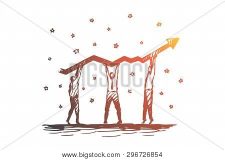 Teamwork, Arrow, Growth, Company, Leadership Concept. Hand Drawn Business Team Working On Success Gr