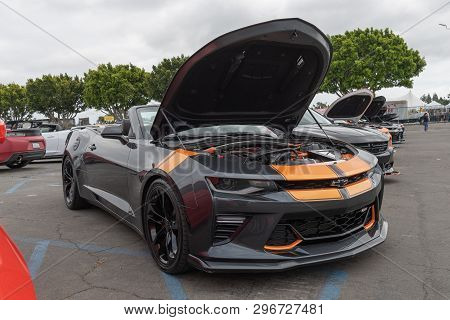 American Muscle Car Chevrolet Camaro Exhibited At Torqued Tour Event.