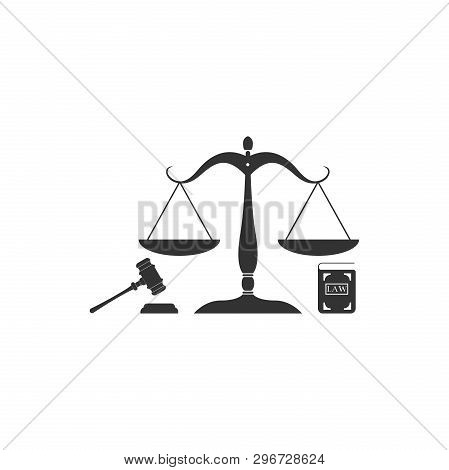Scales Of Justice, Gavel And Book Icon Isolated. Symbol Of Law And Justice. Concept Law. Legal Law A