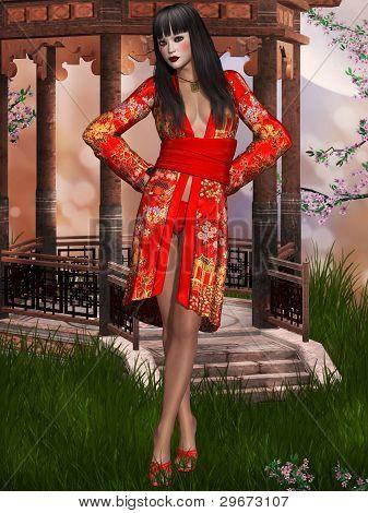 Oriental beauty with kimono