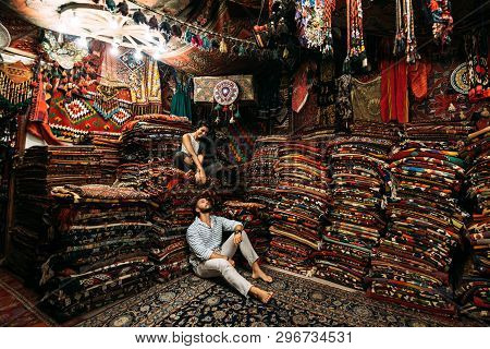 Couple Having Fun. Couple In Love In Turkey. Man And Woman In The Eastern Country. Gift Shop. A Coup