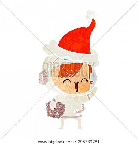 hand drawn retro cartoon of a happy spacegirl holding moon rock wearing santa hat