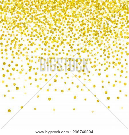Gold Glitter Dots Confetti On Isolated Backdrop. Sequins With Metallic Shimmer And Sparkles. Templat