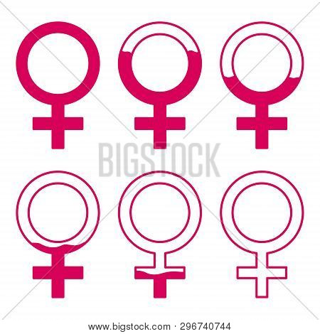 Set of gynecology icon with filled blood in pink color. Start and finish period. Concept of menstruation period, pregnancy or menopause. Vector illustration in flat style poster