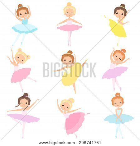 Cute Little Ballerinas Dancing Set, Lovely Girls Ballet Dancers Characters In Tutu Dress Vector Illu