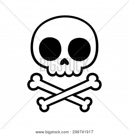 Cute Stylized Cartoon Skull And Crossbones Doodle. Simple Hand Drawn Jolly Roger Sign, Isolated Vect