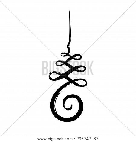 Unalome, Hindu And Buddhist Symbol Representing Path To Enlightenment. Black Ink Calligraphy Brush D