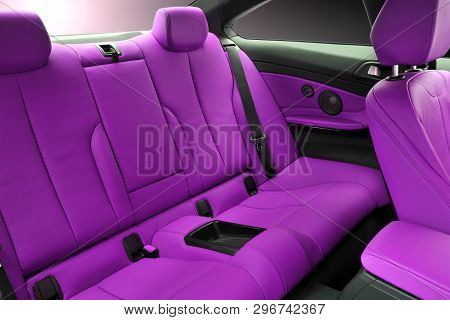 Pink Rear Seat Of A Luxury Passenger Car