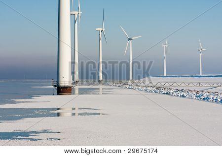 Dutch Offshore Windturbines In A Frozen Sea