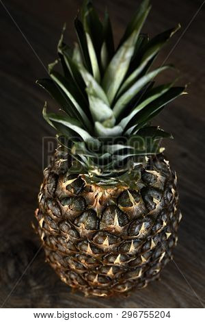 Pine Apple Whole Tropical Fruits With Leaves Wooden Background Useful Natural Organic Food Style. Cl