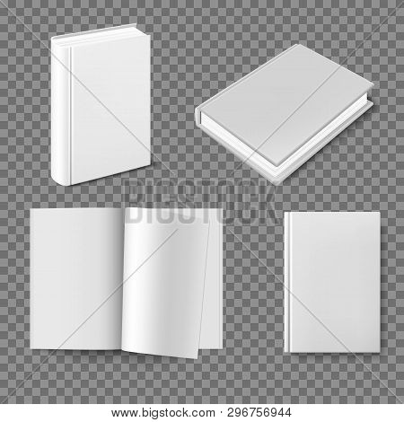 Set Of Blank Book Cover Template. Closed Vertical Book, Magazine Or Notebook Mockup On White Backgro