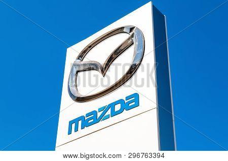 Samara, Russia - April 20, 2019: Official Dealership Sign Mazda. Mazda Motor Corporation Is A Japane