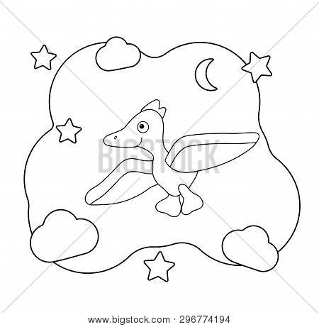 Funny Cartoon Dinosaur Character. Dino Print For Coloring. Pterodactyl Flies Among The Clouds And St