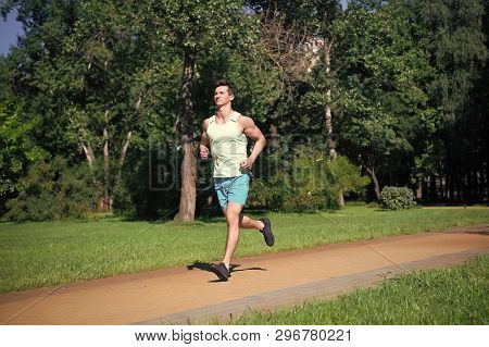 His Best Speed. Man Jogger Run In Park Sunny Day Nature Background. Man Training, Prepare His Body F