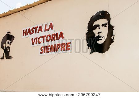 Havana Cuba - July 7 2012; Sign Of The Revolution Stating Hasta La Victoria Siempre With Silhouettes