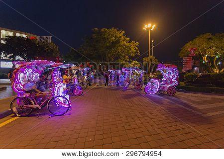 Malacca, Malaysia - 4Th August 2018 : Decorative Trishaws At Malacca Citymalaysia. Malacca Has Been