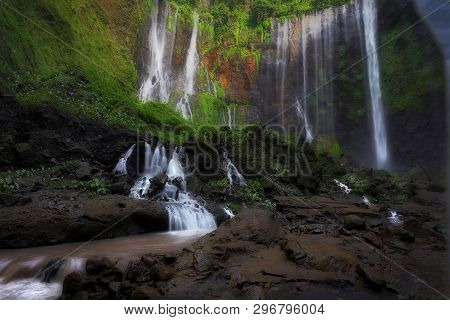 Beautiful Tumpak Sewu Waterfall, Tumpak Sewu Waterfall Or Also Called Coban Sewu Is A 120 Meter High