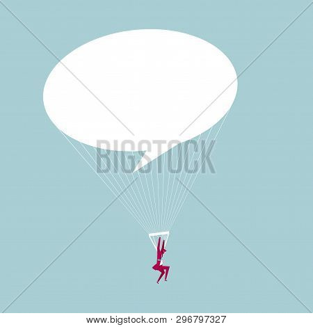 The Businessman Airborne. Isolated On Blue Background.