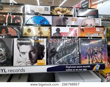 Plattsburgh, Usa - January 21, 2019 : A Shelf With Vinyls Of Different Groups, Singers And Composers