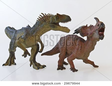 Allosaurus And Styracosaurus Battle With White Background