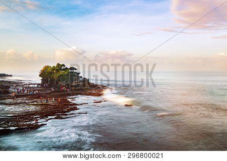 Tanah Lot & Batu Bolong Temple. Long Exposure Effect, Bali Indonesia. Tropical Nature Landscape Of I