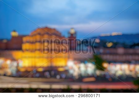 Out Of Focus Of Hawa Mahal On Evening, Jaipur, Rajasthan, India. An Unesco World Heritage. Beautiful