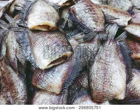 Pile Of Dried Trichogaster Pectoralis Fish Close Up