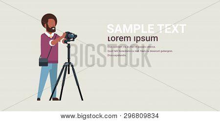 Man Professional Photographer Taking Photo African American Guy Using Dslr Camera On Tripod Horizont