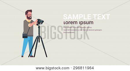Man Professional Photographer Taking Photo Guy Using Dslr Camera On Tripod Horizontal Full Length Fl