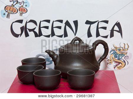 Ancient Tea Serving Pot And Cups