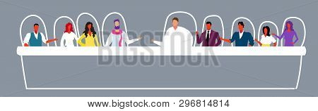 Businesspeople Discussing During Training Conference Meeting Business People Men Women Sitting At Co