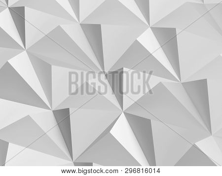 White Digital Polygonal Pattern. Abstract Low-poly Cg Background Texture, 3d Render Illustration