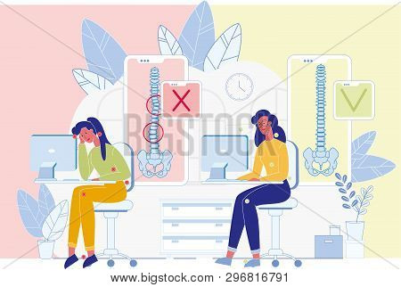 Spine Diseases, Posture Problems Prevention Flat Vector Banner. Woman Sitting At Desk, Working On Co