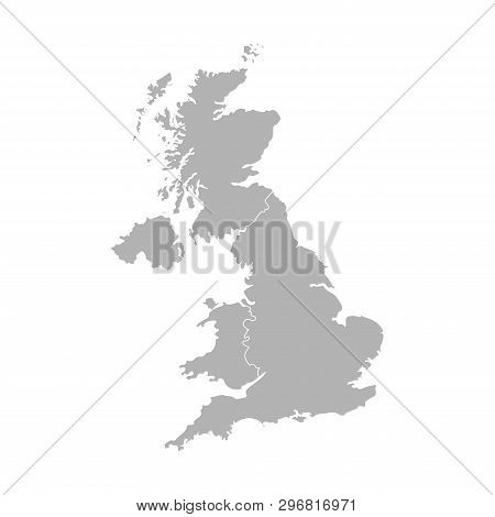 Vector Isolated Simplified Map. Grey Silhouette Of United Kingdom Of Great Britain And Northern Irel