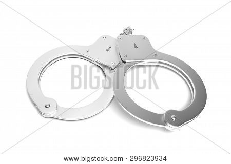 Handcuffs. 3d Rendering Illustration Isolated On White Background