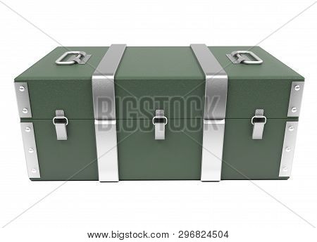 Green Military Storage Box. 3d Rendering Illustration Isolated On White Background