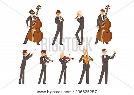 Musicians Of Symphonic Orchestra And Conductor, People Playing Various Musical Instruments Vector Il