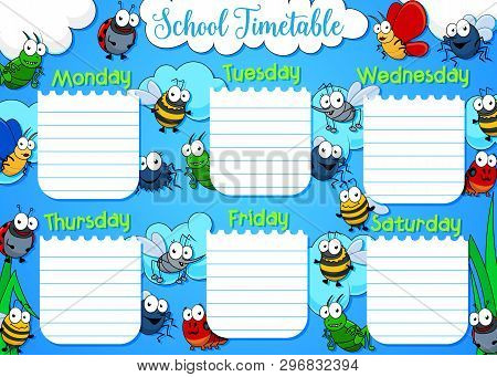 School Timetable, Week Schedule And Student Class Table Weekly Template. Vector School Timetable Wit