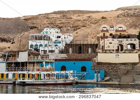 Aswan, Egypt 18.05.2018 The Traditional Nubian Village Located On The West Bank Of The Nile River In