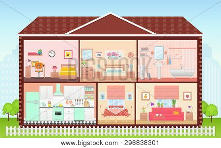 House Inside, Room Interior. Vector. Cartoon House Cross Section. Home In Cut. Bedroom, Living Room,