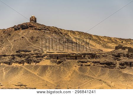 Tombs Of The Nobles In Aswan, Egypt Rock Cut Graves Cementary Located Near Nile River