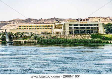 Aswan Egypt 20.05.18 Nile River Luxury Hotel Moevenpick On A Sunny Day