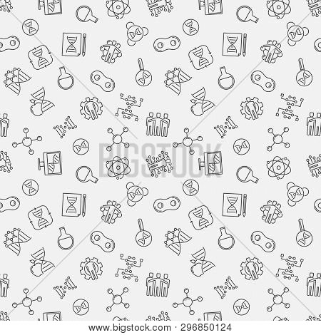 Cloning Vector Minimal Linear Pattern. Human Cloning Seamless Background In Thin Line Style